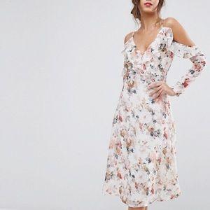 Boohoo Floral Cold Shoulder Midi Dress